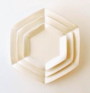 六角白花皿 大中小3枚セット