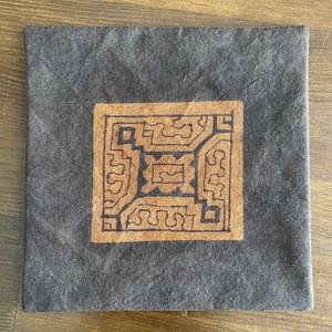 泥染めコースター 両面茶6 13.5x13.5cm