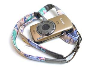 カメラストラップ 2㎝巾 コンパクトカメラ&携帯用 両面 紅型デザイン 気仙沼の海の生きものたち ベージュ