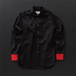 メンズ ロングシャツ 黒×赤