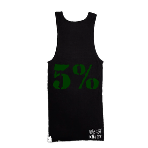 5% Love It Kill It, Black Ribbed Tank Top with Green Lettering #203