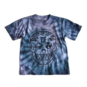 Japanese Skull -日本髑髏- タイダイ染め TieDye キッズTシャツ 100cm Black