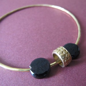 Brass Bangle with Glass Beads | Mirabelle