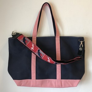 "Strap Tote ""PINK ON NAVY"" (Navy x Pink)"