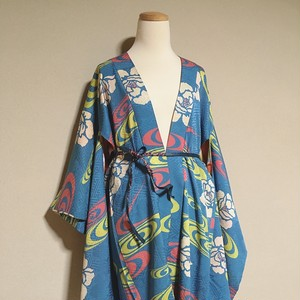 Vintage Long HAORI Silk Sky Blue × pattern of flower and spirals