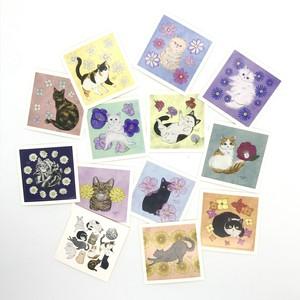 猫と花ステッカー13枚セット
