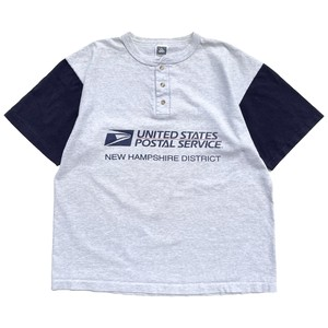 USED 80-90's COTTON DELUXE UNITED STATES POSTAL SERVICE henry neck tee - ash,navy