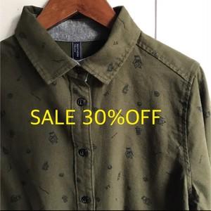 SALE30%OFF【 NORTHERN TRUCK 】TAKIBIプリントシャツ カーキ【ノーザントラック】