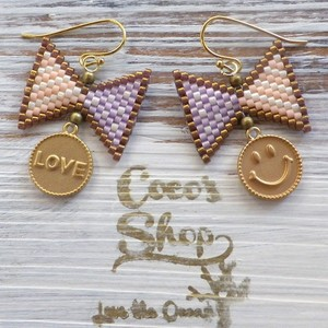 ◆SALE ¥300 OFF◆ Cute Ribbon  Pierce -Violet&Pink Border-
