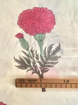 【NEW】Block print 大きな花柄 ピンク