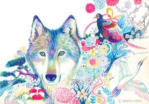 オオカミと和柄[ポストカード]