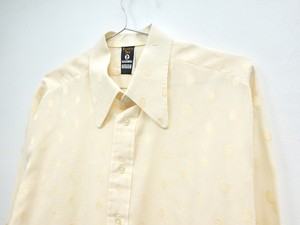 70s White Dots Dress shirt 【EURO Vintage】