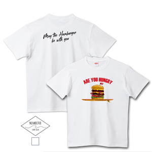 Number8 SURF CLUB(ナンバーエイト)ハンバーガーサーフィン -Are you hungry- Tシャツホワイト メンズ レディース キッズ(United Athle)