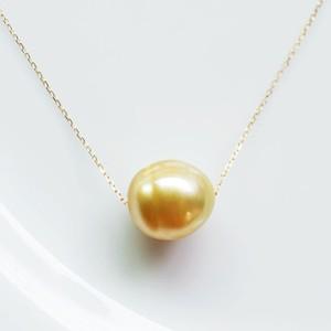 K18 大きめゴールデンパールのシンプル1粒ネックレス