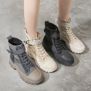 【シューズ】スボーツ系ファッション普通丸トゥショート丈ブーツ