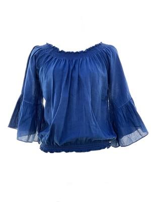 藍染めトップス(コットンガーゼ フレアー袖)  #indigo