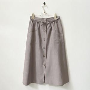 レディース 古着 前ボタン フレアスカート リネン  日本L