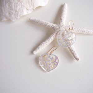 White Perl shell heart pierce(01-036)