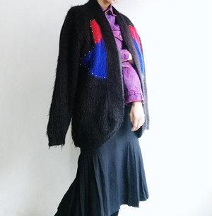 EUROPE VINTAGE 80's design knit cardigan