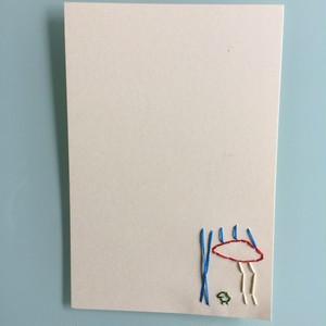 刺繍ポストカード(カエルくんキノコで雨宿り)