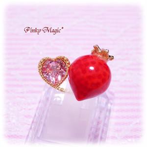 マジカルストロベリーフォークリング 赤イチゴ×ピンク