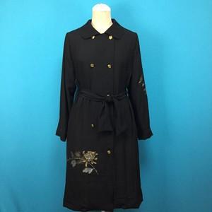 Vintage silk kimono, black, コート