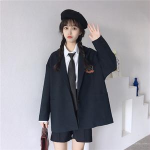 【アウター】春秋レトロスウィート学園風折襟刺繍スーツジャケット