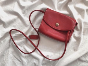 "AMERICA 1990's OLD COACH ""Red Leather"" shoulder bag"