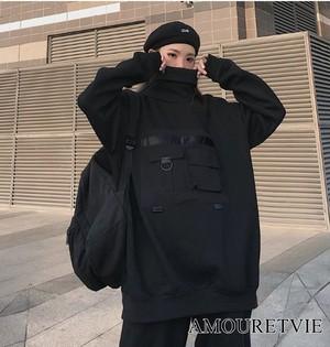 トレーナー スウェット トップス 黒 ブラック ベルベット セーター ストリート 原宿 オルチャン 韓国ファッション 1149