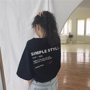 【トップス】ファッションアルファベットラウンドネック半袖Tシャツ