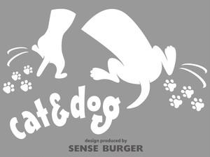 車用 給油口に貼れるステッカー 挟まれるcat&dog 車に貼り付け 犬 DOG IN CAR 猫 CAT IN CAR シール ステッカー デカール 白 ホワイト