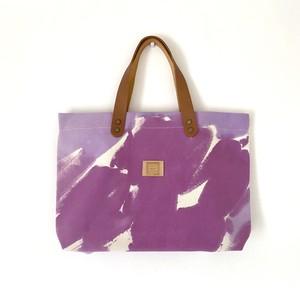 手染めのキャンバスA4トートバッグ / purple