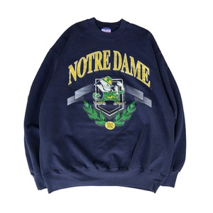 """USED """"Champknit for Team Hanes"""" NOTREDAM college crewneck sweat - navy"""