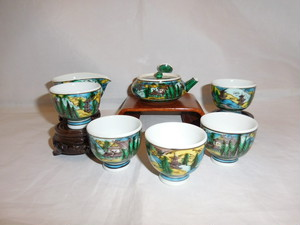 九谷焼玉露揃 Kutani porcelain Japanese tea set