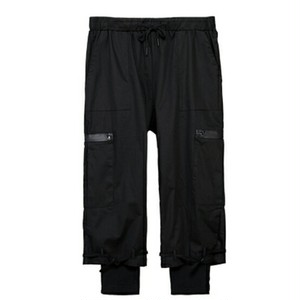 レイヤード風パンツ裾ベルト付き調節可能/2色メンズ送料無料
