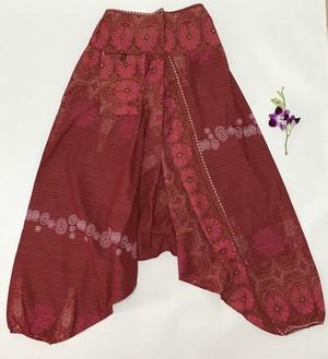 モン族プリント柄 サルエル型パンツ 男女兼用 出柄が一点一点違います。