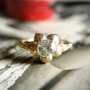 Old European cut Diamond Flower Ring