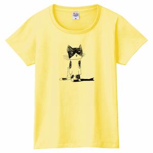 あずき猫ペールイエロー女性用LサイズTシャツ