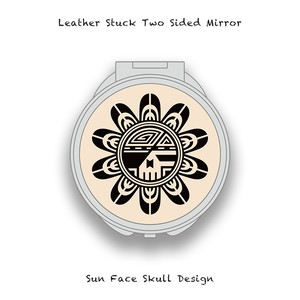 Leather Stuck Two Sided Mirror / Sun Face Skull Design 002