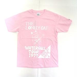 「猫バンド」レコードワッペン猫ツアーTシャツ 2021SS新色 薄ピンク S/M/L WATERFALL限定商品
