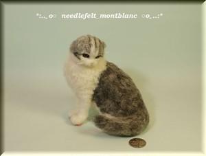 羊毛フェルト 猫 スコティッシュフォールド