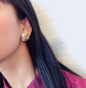 CELINE square earrings ◆