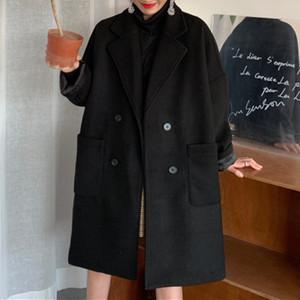 【アウター】chicシンプルレトロ韓国通販長袖無地ダブルブレストコート24680739