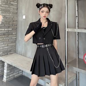 【セット】「単品注文」カジュアル折り襟半袖ボタンショート丈トップス+スカート46043873