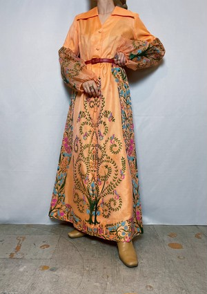 70s flowered pattern maxi  one-piece