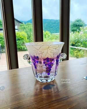 【葡萄ぶどうブドウ】絵付けワインクーラー・フラワーベース・オブジェ/父の日・母の日・両親贈呈品・退職祝い・新居祝い