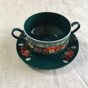 フォレストグリーンのスープカップ
