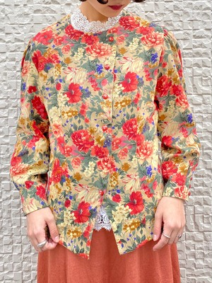 (TOYO) flower pattern no collar blouse