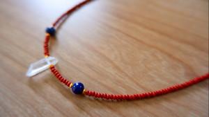 Crystal Quartz Natural Point & Lapis lazuli Beads Necklace