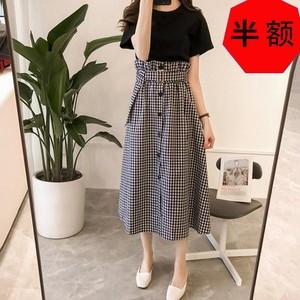 【セット】ファッション新作無地Tシャツ+Aラインスカート2点セット19616383